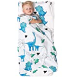 JumpOff Jo - Toddler Nap Mat - Children's Sleeping Bag with Removable Pillow for Preschool, Daycare, Sleepovers - Original Design: Dinosaurs - 43 x 21 Inches