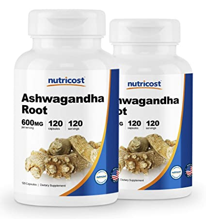 Nutricost Ashwagandha Herbal Supplement 600mg, 120 Capsules – Healthy Stress Response 2 Bottles