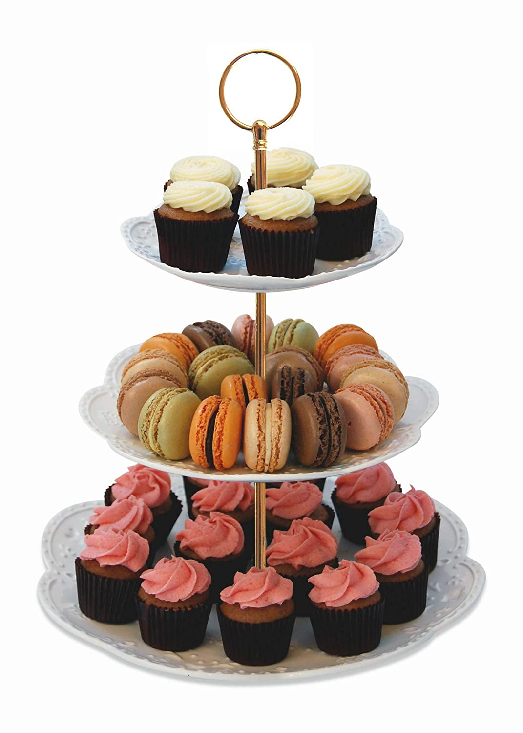 Sophia Interchangeable 2 or 3 Tier Cake Cupcake Dessert Display Stand Serving Platter Includes Silver and Gold Hardware Gold Leaf Confections
