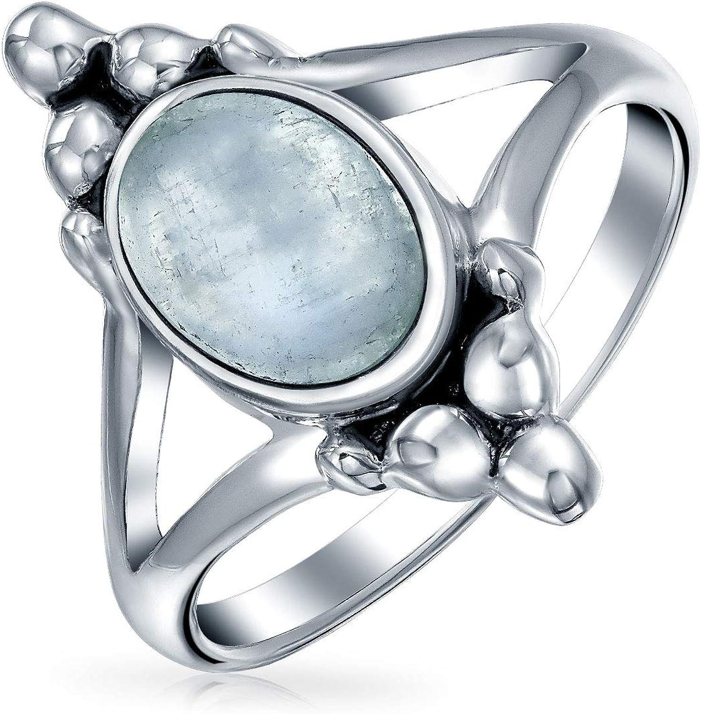 Piedras Preciosa Arcoiris Moonstone Oval Anillo Para Adolescente Banda Plata Esterlina 925 Oxidada