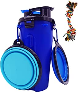RAYCLOUD Dog Water Bottle & Dog Bowl 2 in 1, Dog Food Container for Outdoor Hiking with 2 Collapsible Dog Bowls & 1 Dog Tug Rope Toy, Portable Puppy Feeding Container Travel Bowl Drinking Feeder