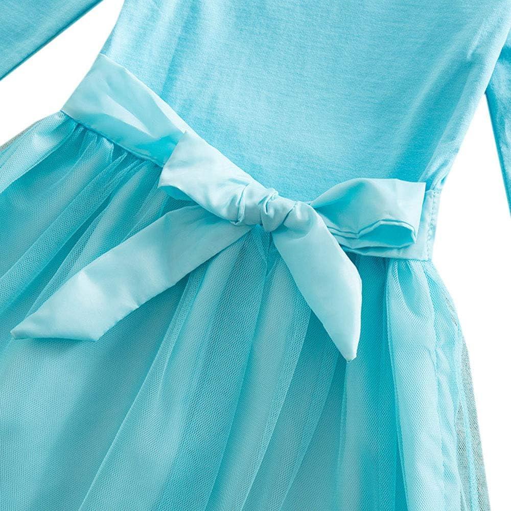 O/&K Cotton Cartoon Girl Dress Bambino Manica Lunga Principessa della Ragazza Netto Gonna Popolari Felpe Soprabiti,Blu,100cm