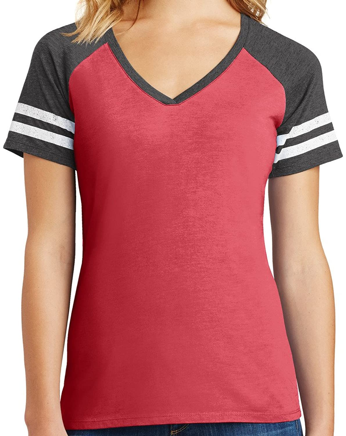 Ladies Game V-neck Tee, 4XL Heathered Red/Heathered Charcoal