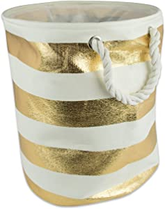 DII Woven Paper Collapsible Laundry Hamper/Storage Basket, 20x15x15, Round, Gold Stripe