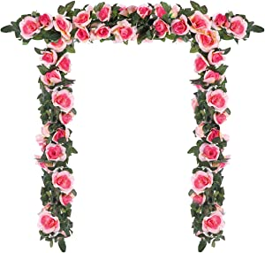 Momkids 3 Pcs (19.5 FT) Artificial Flowers Rose Vine Fake Silk Flowers Garland Hanging Baskets Faux Rose Vines for Banquet Stage Home Outdoor Garden Wedding Arch DIY Decor(Champagne)
