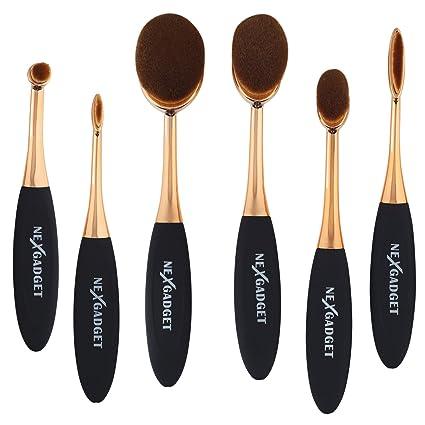 NEXGADGET Brochas de Maquillaje Sets 6 Piezas Cepillo de Dientes Óvalo Fibras Sintéticas Súper Suave Juego