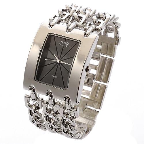 XLORDX Damen Uhr Silber Metall Edelstahl Armbanduhr Quartz Armreif Analog Ketteuhr schwarz