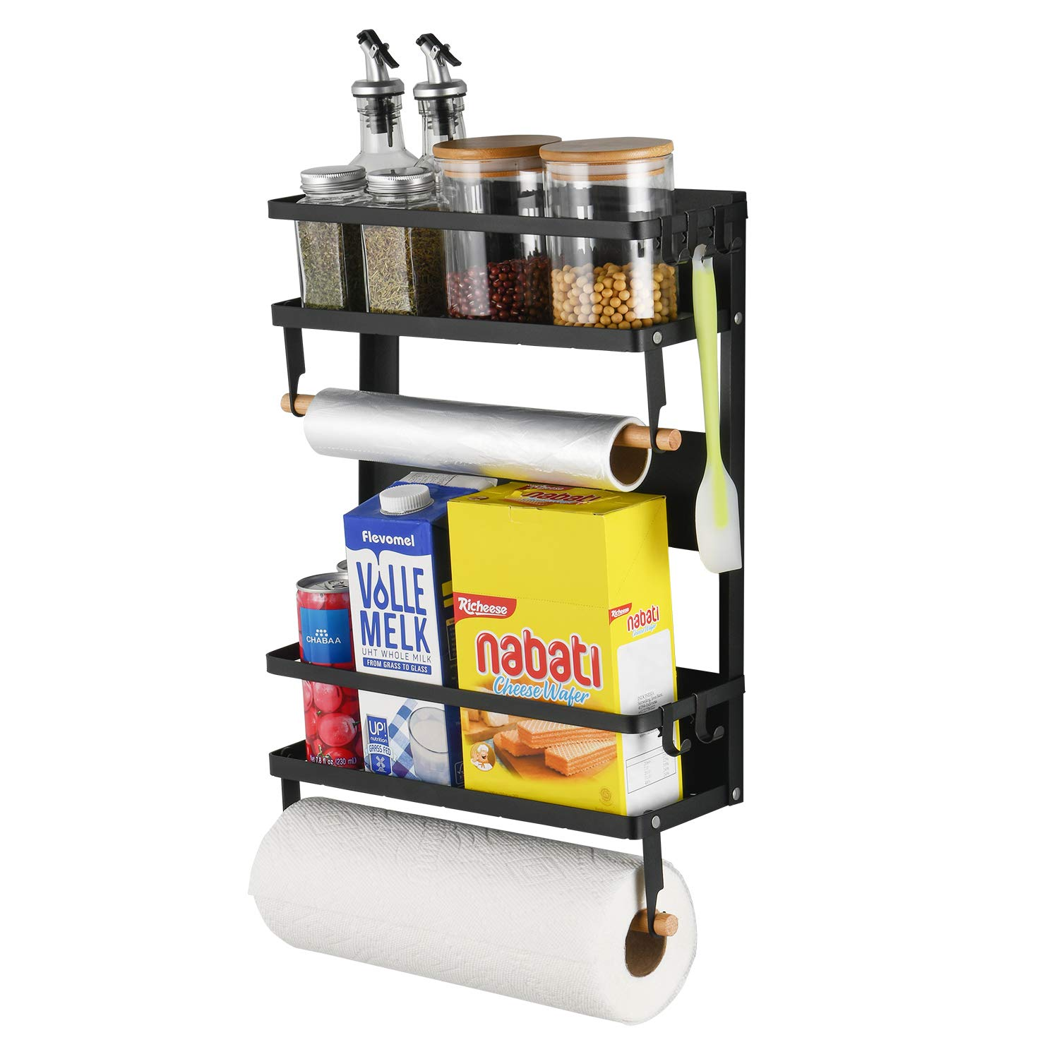 X-Chef Magnetic Spice Rack for Refrigerator, Multi-Tier Magnetic Shelf with 2 Paper Towel Holders and 5 Removable Hooks for Refrigerator & Washing Machine, Black