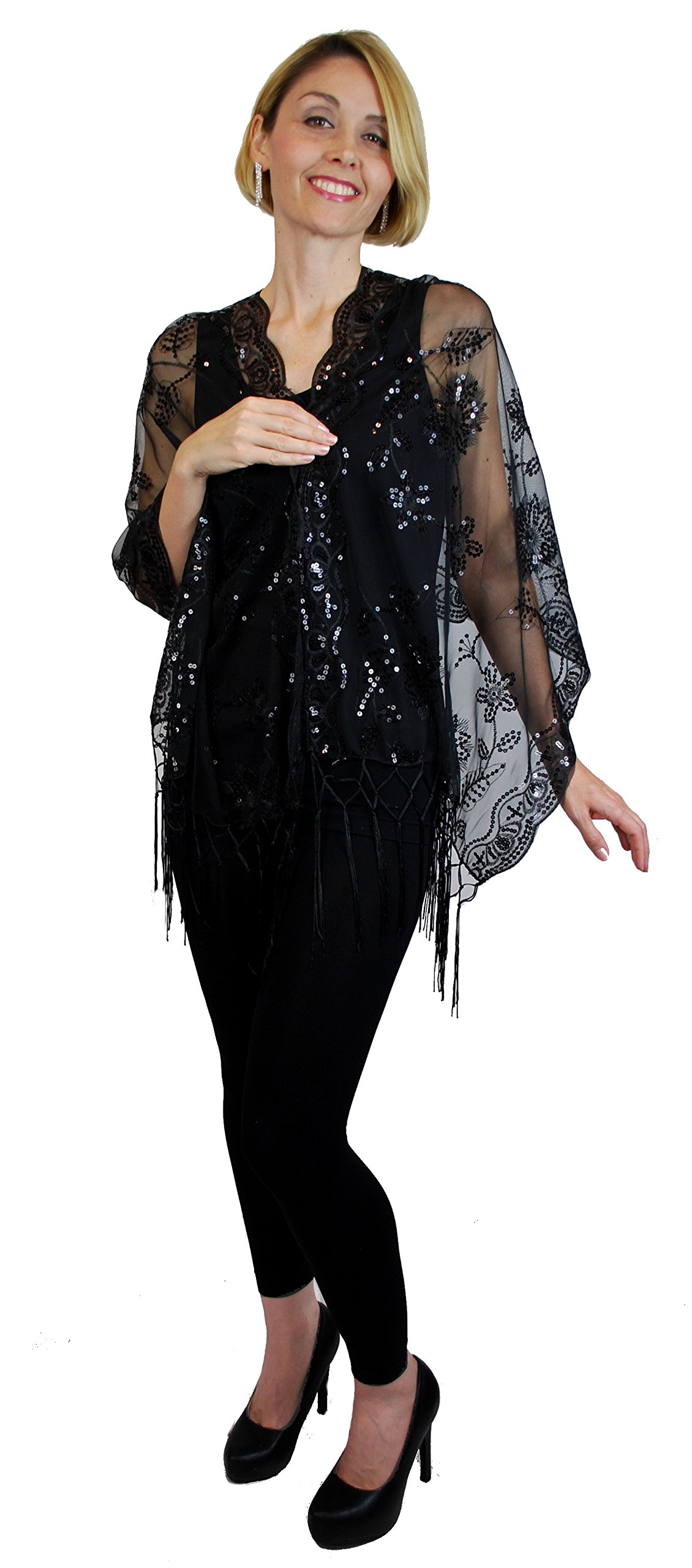 Womens Ladies Fashion Mother of the Bride Beaded Fashion Shawl Scarf Cover Up (Black)