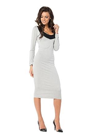 Kleid lang 2 Farbig Elegant Langarmkleid Gr. 36 38 40 42 44 46, B28:  Amazon.de: Bekleidung