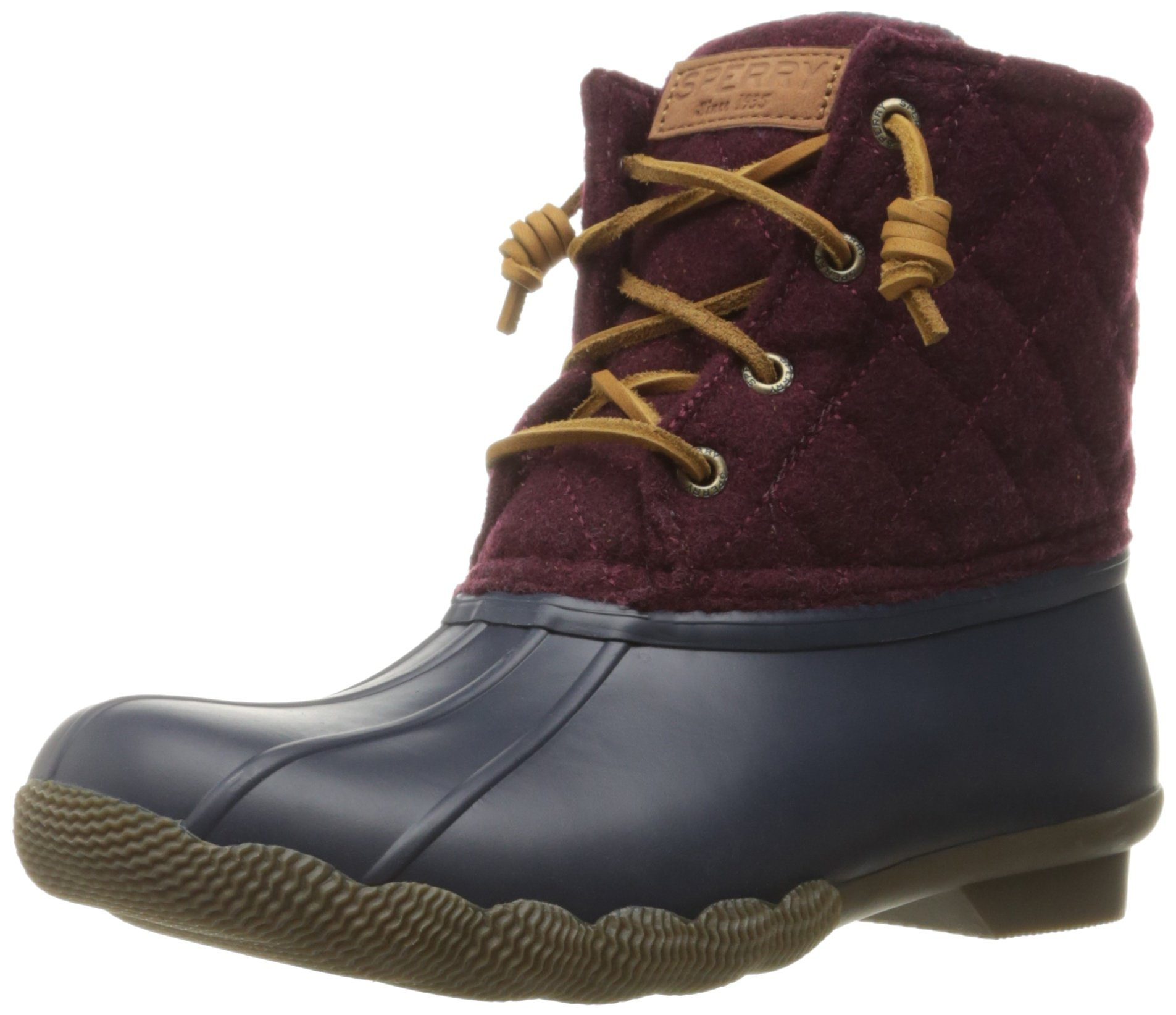 Sperry Top-Sider Women's Saltwaterquilted Wool Rain Boot, Navy/Maroon, 8 M US by Sperry