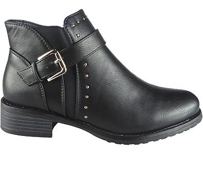 e53788802369 Ladies Womens Low Block Heel Stud Buckle Strap Chelsea Biker Ankle Boots  Shoes Size (3