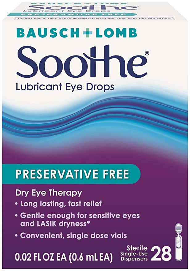 e3215147e23c9 Bausch   Lomb Soothe Preservative Free Lasting Lubricant Drops 28 Ct   Amazon.co.uk  Health   Personal Care