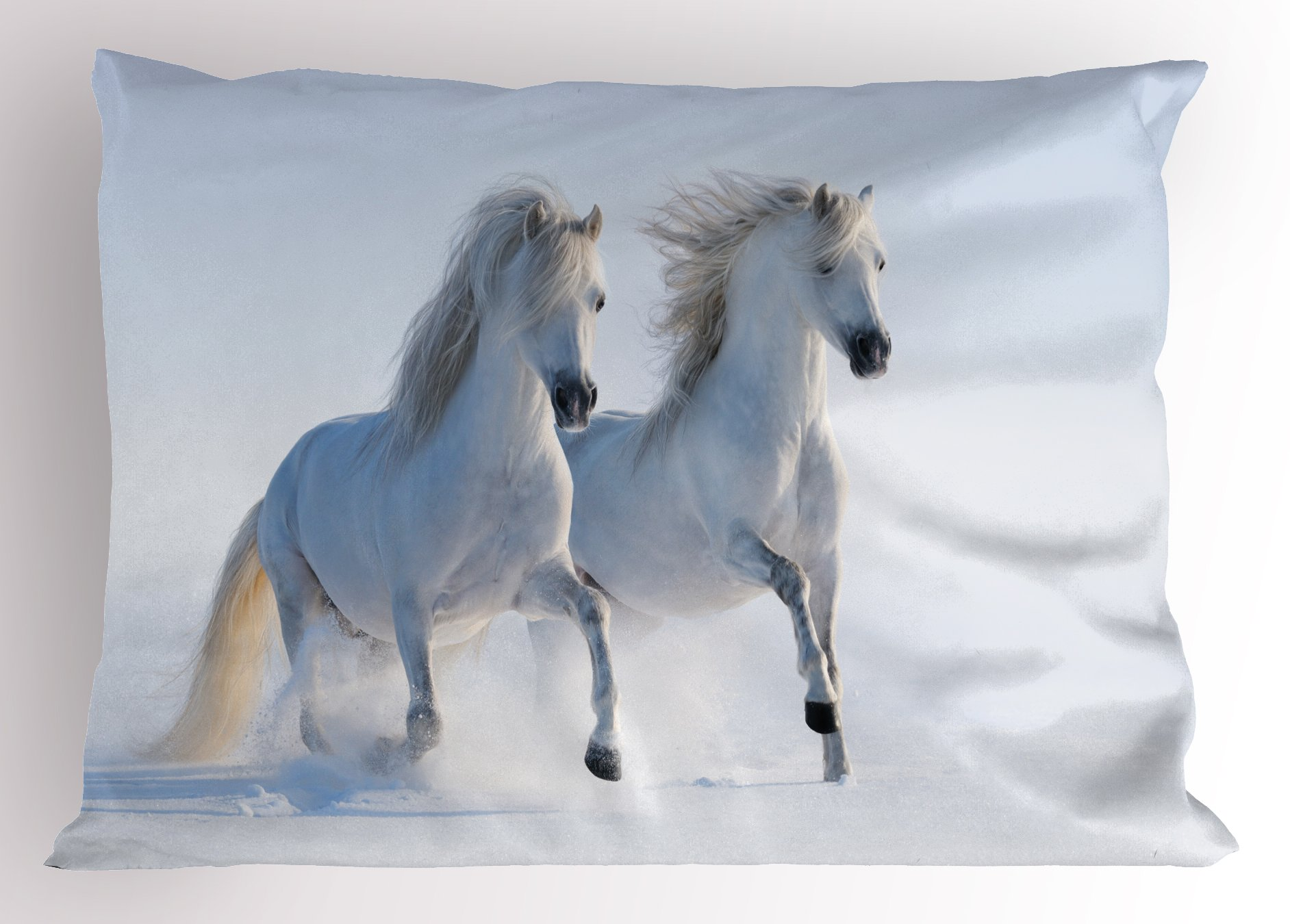 Lunarable Horses Pillow Sham, Galloping Rare Spotted Horses on Snow Field Dominant Genes Albino Different Animals Print, Decorative Standard Queen Size Printed Pillowcase, 30 X 20 Inches, White
