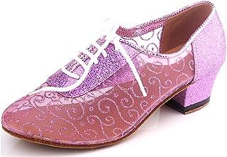 MINITOO Qj9005pour Femme à Lacets Net Moderne Salsa Tango Piste de Danse Latine Chaussures de Danse de fête de Mariage soirée - Rose - Rose,