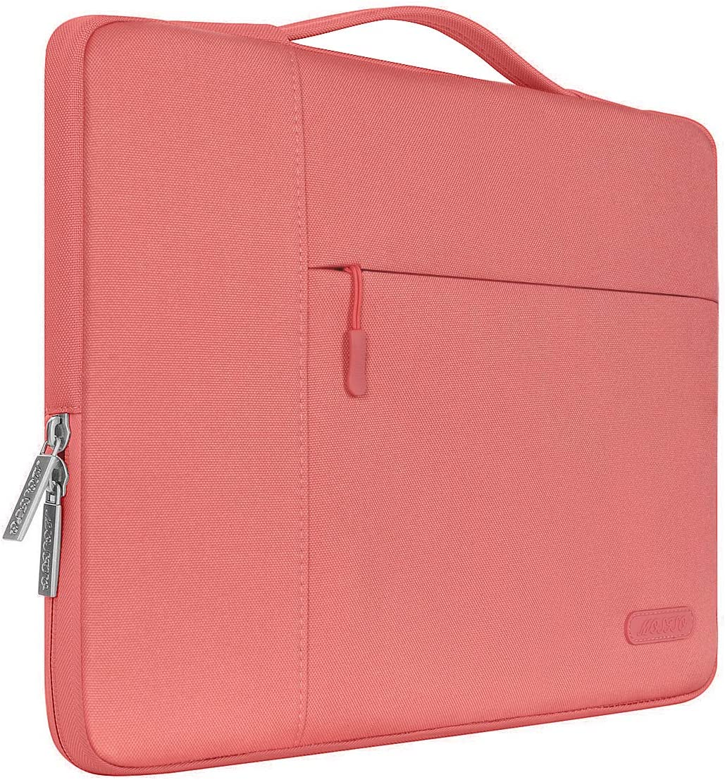 MOSISO Laptop Sleeve Compatible with 13-13.3 inch MacBook Air, MacBook Pro, Notebook Computer, Polyester Multifunctional Briefcase Carrying Bag, Living Coral