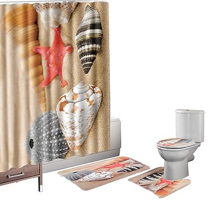 Amagical 15 Pieces Shower Curtain Set Bathroom Mat Set Colorful Flowers Unicorn Printed Bath Mat Contour Mat 12 Hooks Shower Curtain