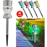 4X Solar Post Lights for Garden and Table Lamp - Outdoor Pathway Border, Flowerbed or Patio Lighting - Colour Changing