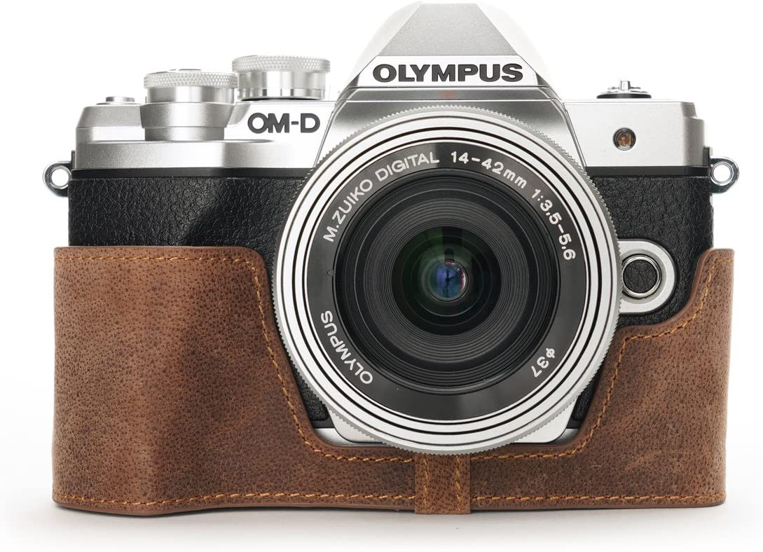 Handmade Genuine Real Leather Half Camera Case Bag Cover for Olympus OM-D E-M10 Mark III Bottom Open Tan color