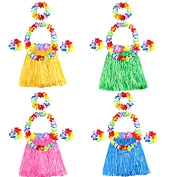 52d28294f422 FEPITO 4 Set 20 Pcs Hawaiian Grass Hula Skirts with Flower Leis Necklace  Headband Bracelets Luau