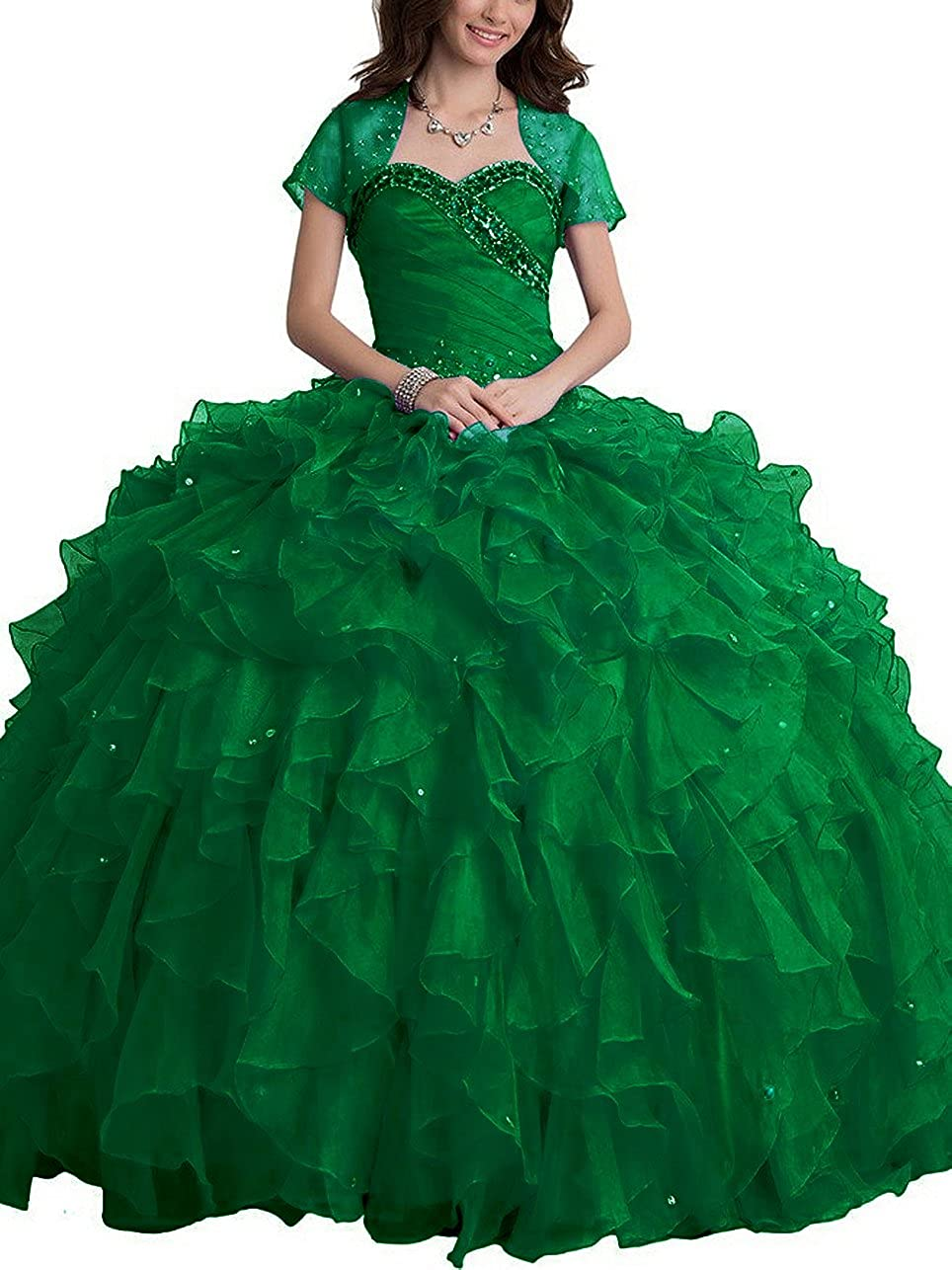 Emerald Green SDRESS Women's Rhinestones Sweetheart Ball Gown Tulle Quinceanera Dress with Wrap