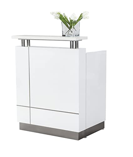 Small Modern Gloss White Reception Desk with Quartz Counter TOP (Desk Fully  Installed in Box)
