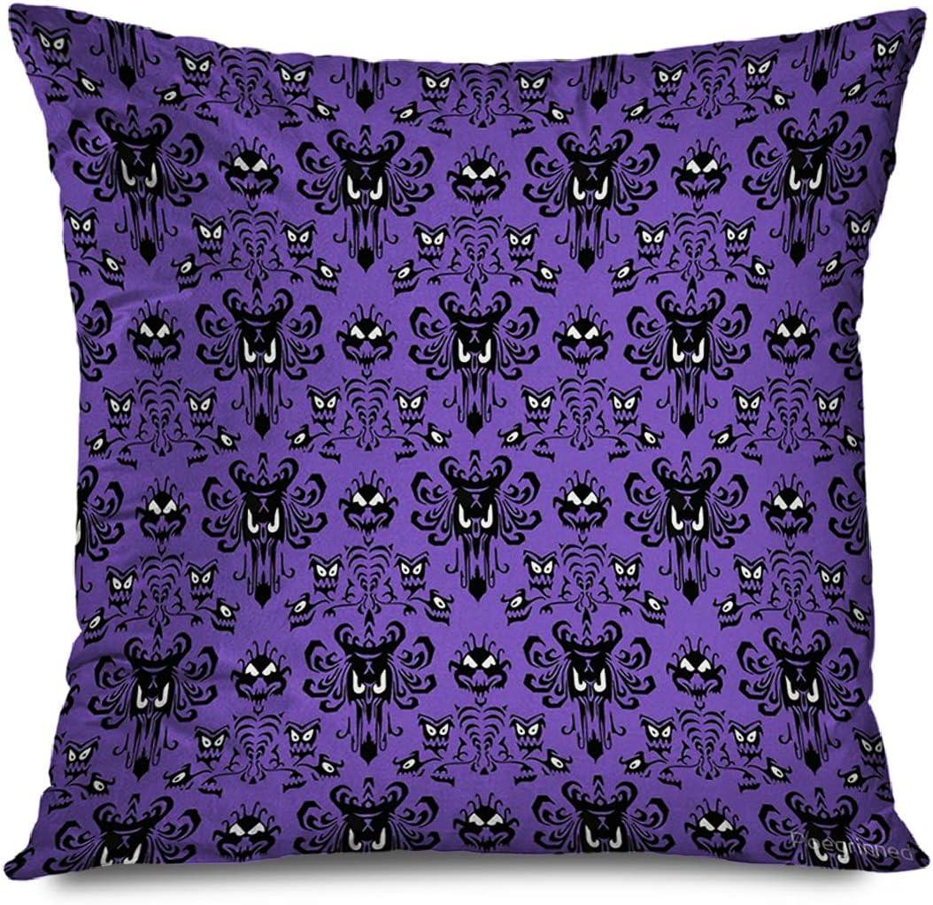 "TETUDA Throw Pillow Cover Square 18""x18"" Happy Halloween Haunted Mansion Mystic Skull Horror Grim Grinning Ghosts Anime Art Pattern Purple Black Decorative Pillowcase Home Decor Zippered Cushion Case"