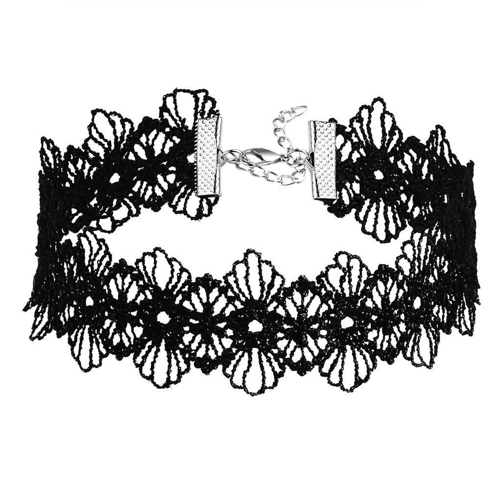 KnSam Women Stainless Steel Choker Necklaces Collar Lace Trim Design Flower Gothic Black