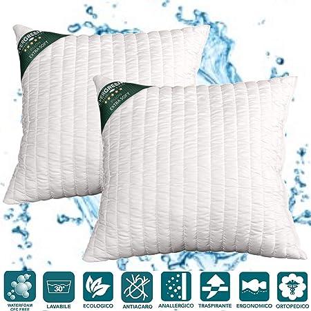EvergreenWeb - Almohadas cama par altos 15 cm lavable en lavadora ...