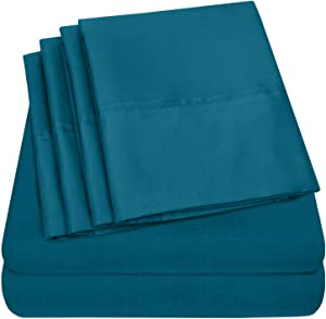 Sweet Home Collection Twin Size Sheets-4 Piece 1500 Thread Count Fine Brushed Microfiber Deep Pocket Set-EXTRA PILLOW CASES, VALUE, Teal