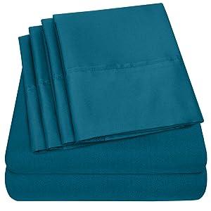 Queen Sheets Teal - 6 Piece 1500 Thread Count Fine Brushed Microfiber Deep Pocket Queen Sheet Set Bedding - 2 Extra Pillow Cases, Great Value, Queen, Teal