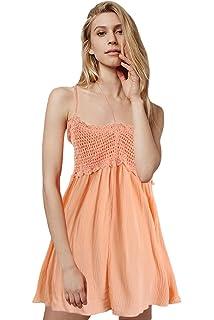 67a0ed6fc53 Eozy Robe Courte Mini Femme Été Bretelle sans Manche Uni Orange Dos Nu à  Volant Plage