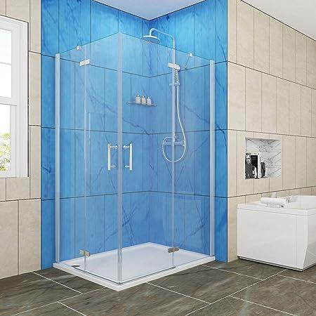 Puerta corredera de esquina, con puertas transparentes dobles para ducha, 1000x900mm: Amazon.es: Hogar