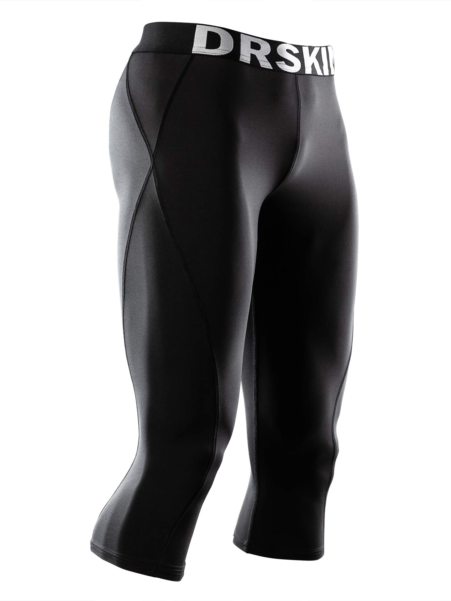 DRSKIN] Tight 3/4 Compression Pants Base Layer Running Pants Men (S, BB807)