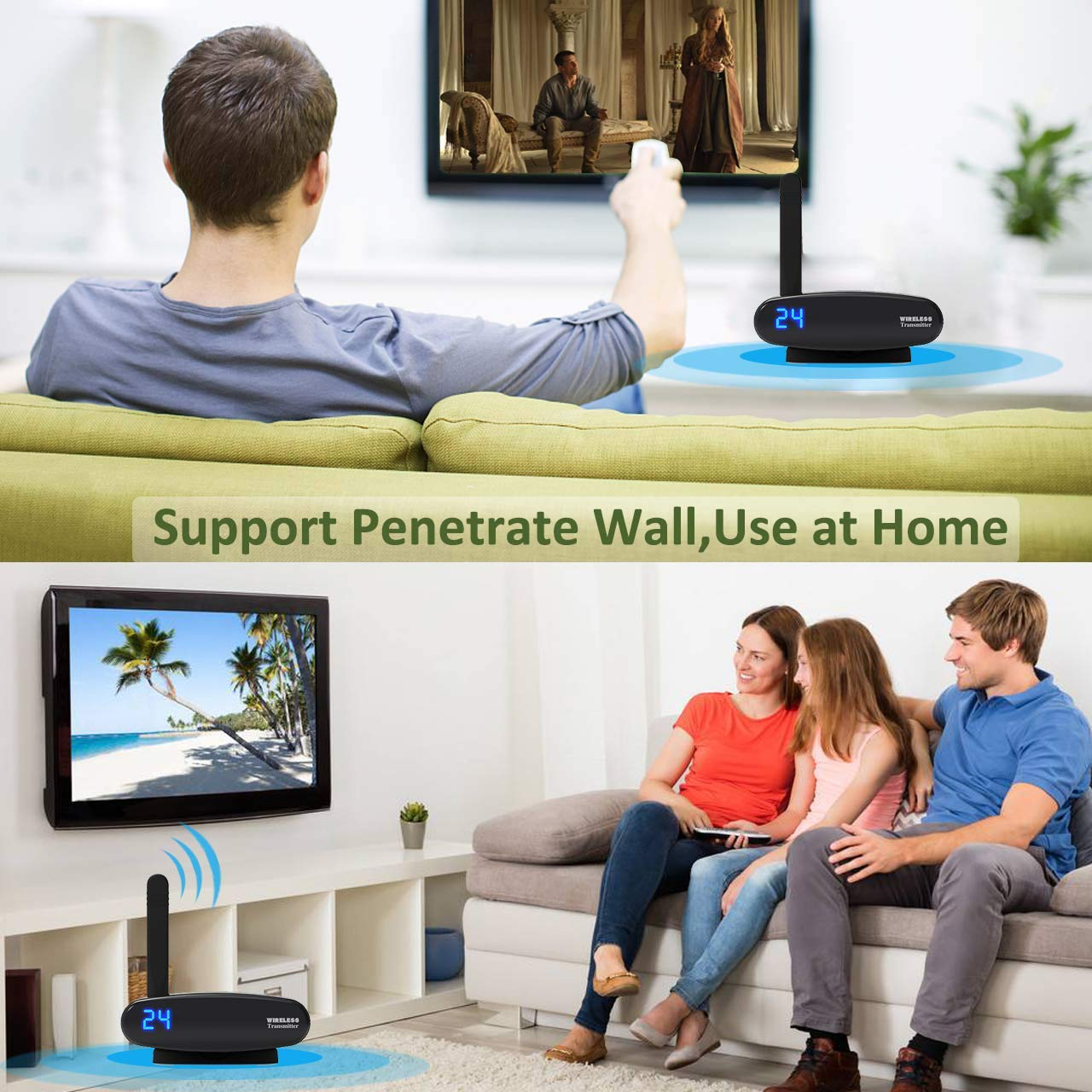 VR-robot Wireless TV Audio Video Transmitter and Receiver, Digital Signal Max 300 Feet Transmission for Cable Box/Computer/PC-Projector/Monitor/TV Display with IR Remote Extender by VR-robot