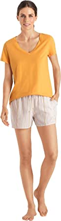 Hanro Women's Sleep and Lounge Short Sleeve V-Neck Shirt