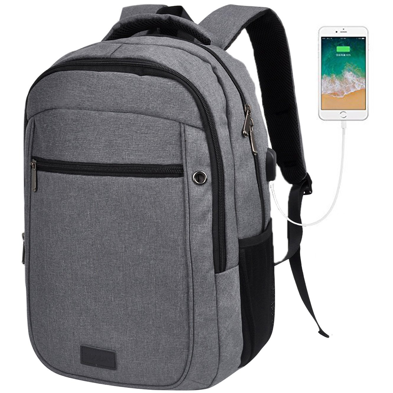 Sunny Snowy School Backpacks,Laptop Backpack up to 15.6 Inch,Travel Backpack with USB Charging Port(8021,Dark Gray)