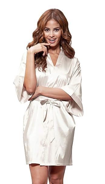 256c49e7a4b5c Women s Pure Color Satin Short Kimono Bridesmaids Lingerie Robes  (Small Medium