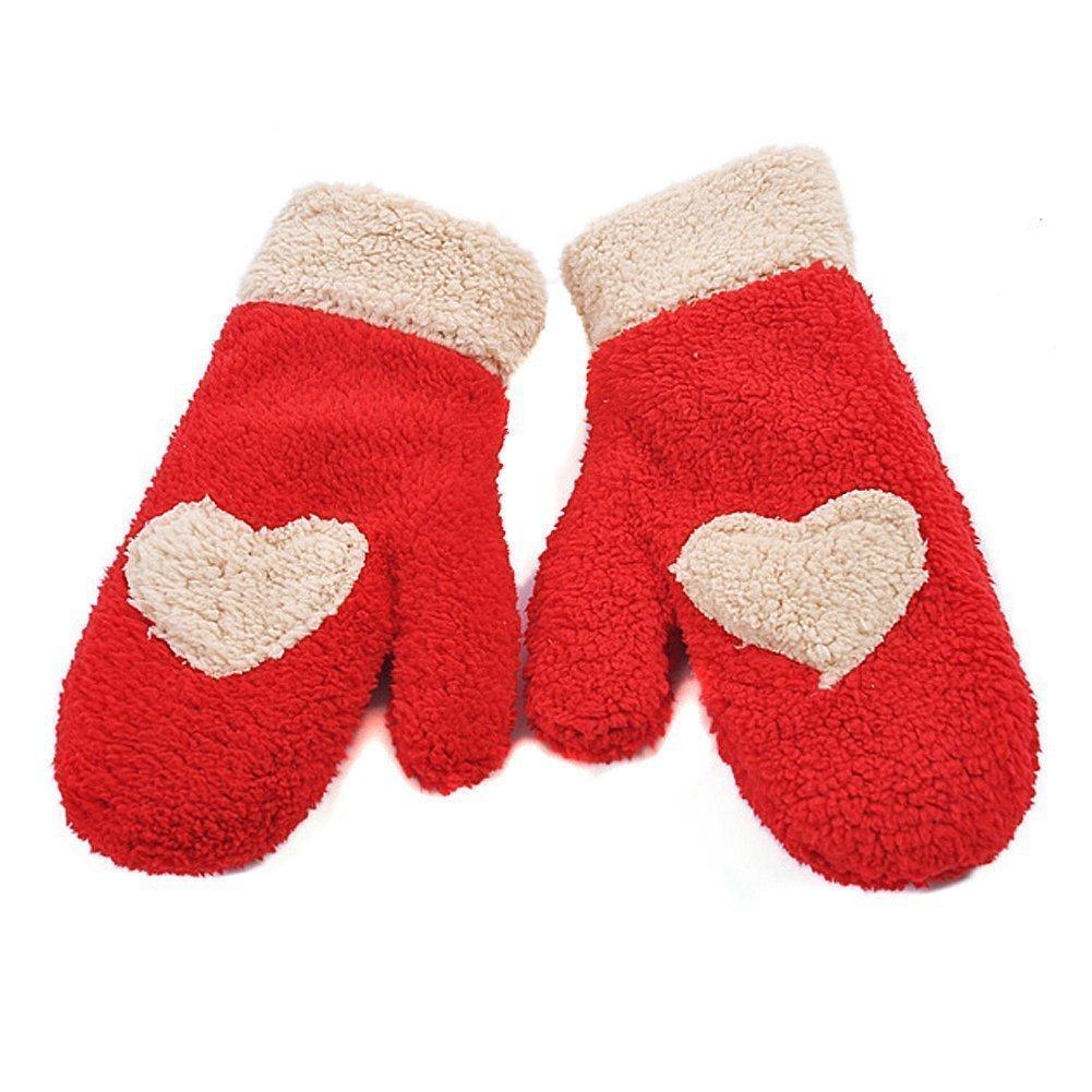 Butterme Sveglia Alla Moda di Amore del Cuore di Design Super Soft Guanti Warmer Fuzzy Mittens Migliore Regalo di Natale per le Donne Ragazze (Rosso) ZUMUii ZT00118RBE