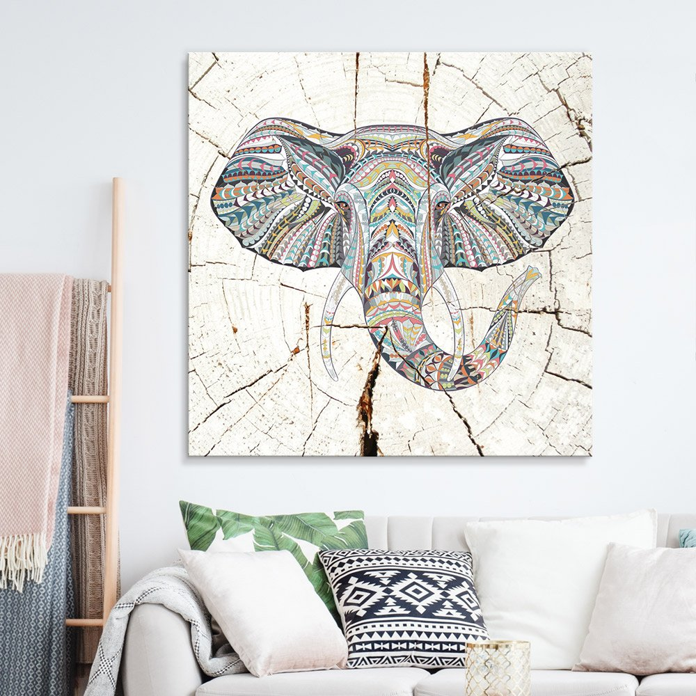 wall26 - Square Canvas Wall Art - Tribal Elephant Wood Effect Canvas - Giclee Print Gallery Wrap Modern Home Decor Ready to Hang - 12x12 inches