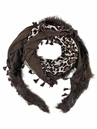 Brown Leopard Shawl Wrap With Faux Fur Trim at Amazon Women s Clothing  store  Cold Weather Scarves 47196a0dc