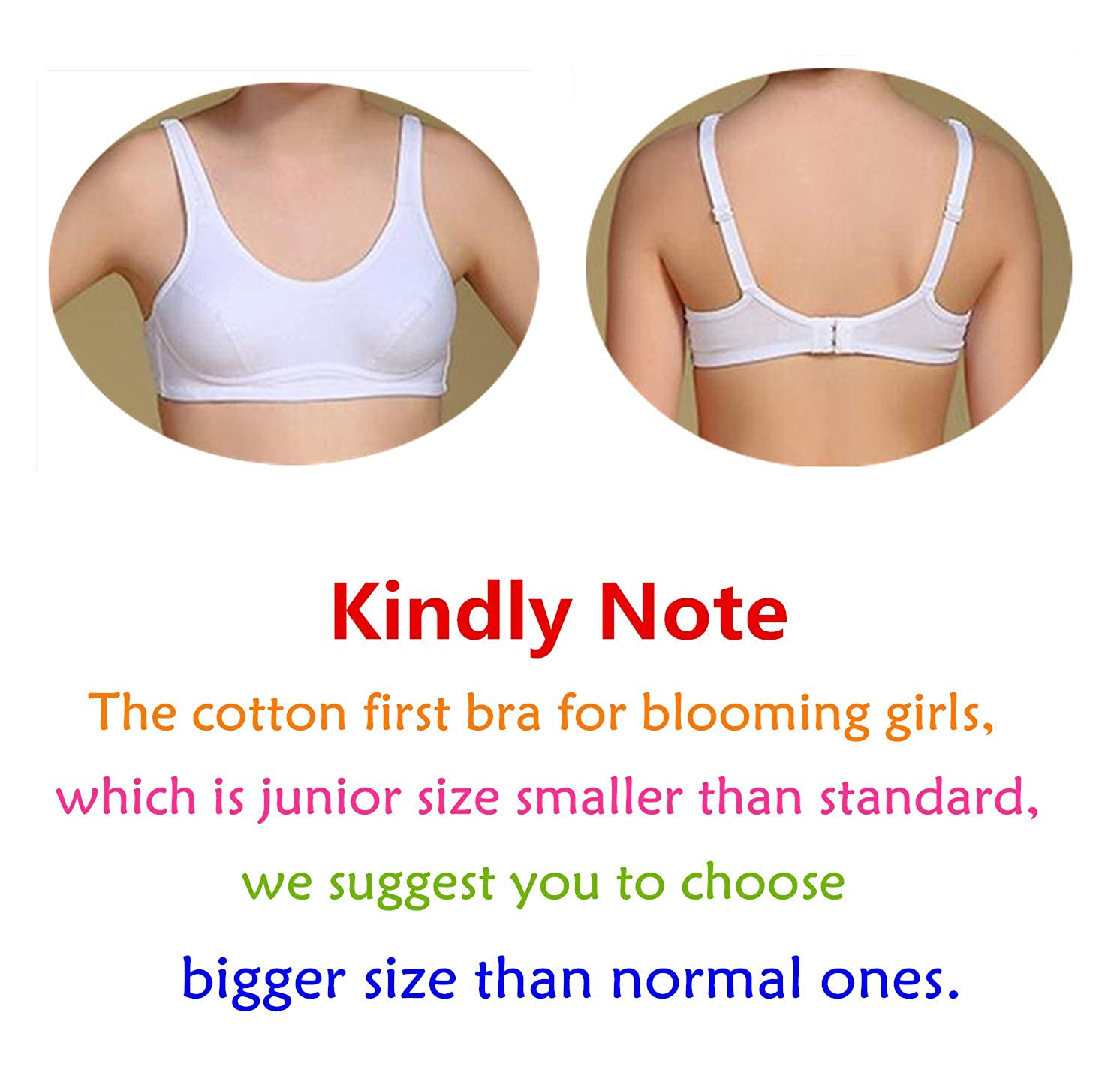 MANJIAMEI Teens Girls Cotton Bras Wire Free Lightly Padded Sports Training Bras