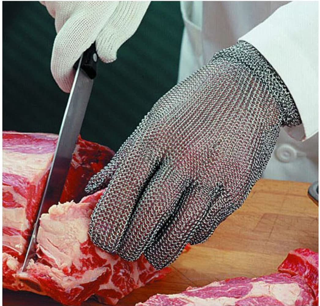 Luckystone Ambidextrous Cut Resistant Gloves - High Performance Level 5 Protection,Safety Cut Proof Stab Resistant Stainless Steel Metal Mesh Butcher Glove,Food Grade Cut Proof Gloves