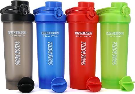 Auto-Flip - Juego de 4 Botellas para batidora de proteínas, Vasos y batidores sin BPA, con Potente Bola de Mezcla, 680 ml (Color Completo): Amazon.es: Deportes y aire libre