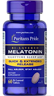 Puritans Pride Bi-Layered Melatonin 5 mg -60 Tablets