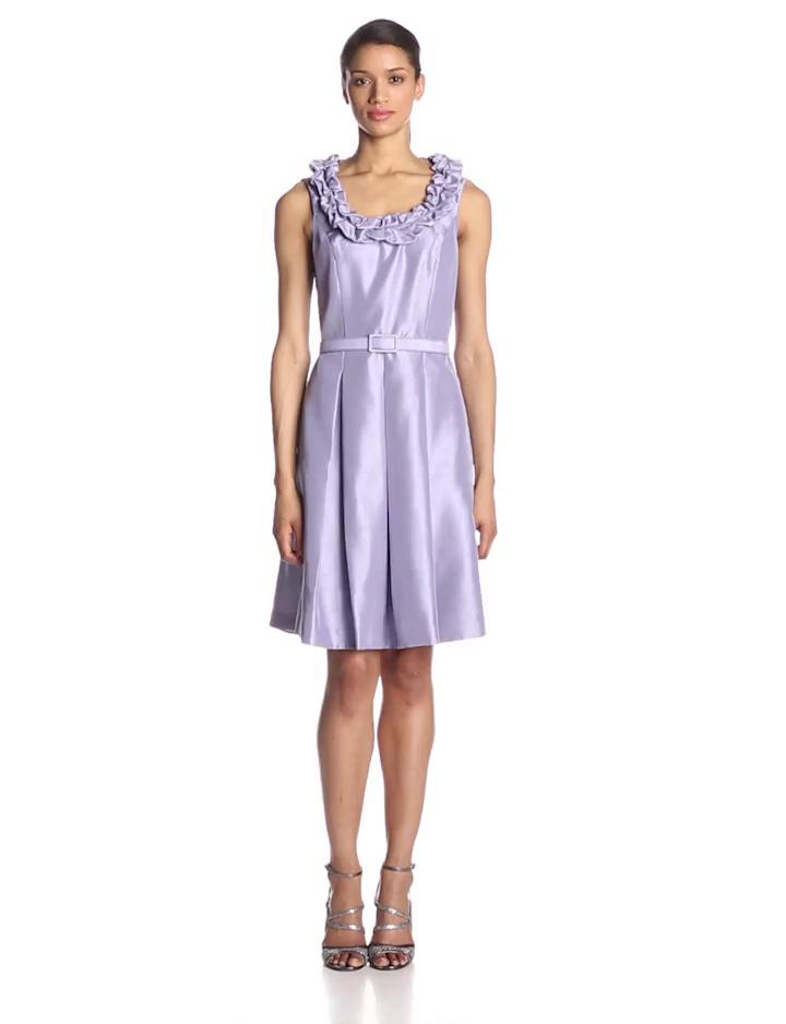 Jessica Howard Womens Sleeveless Ruffle Puff Neckline Dress