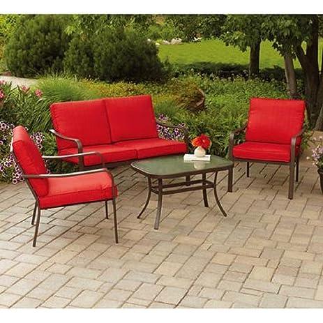 Mainstays Stanton Cushioned 4 Piece Patio Conversation Set, Seats 4 (Red)