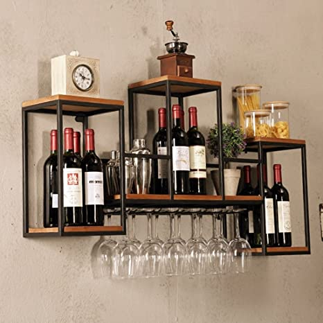 Amazoncom Industrial Wall Mounted Loft Retro Iron Metal Wine Rack