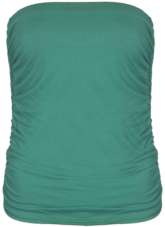 Frauen Plain Riemen ärmellose Rüschen besetzte Flimmerkiste Damen Stirnband  Top - Größen 8-14: Amazon.de: Bekleidung