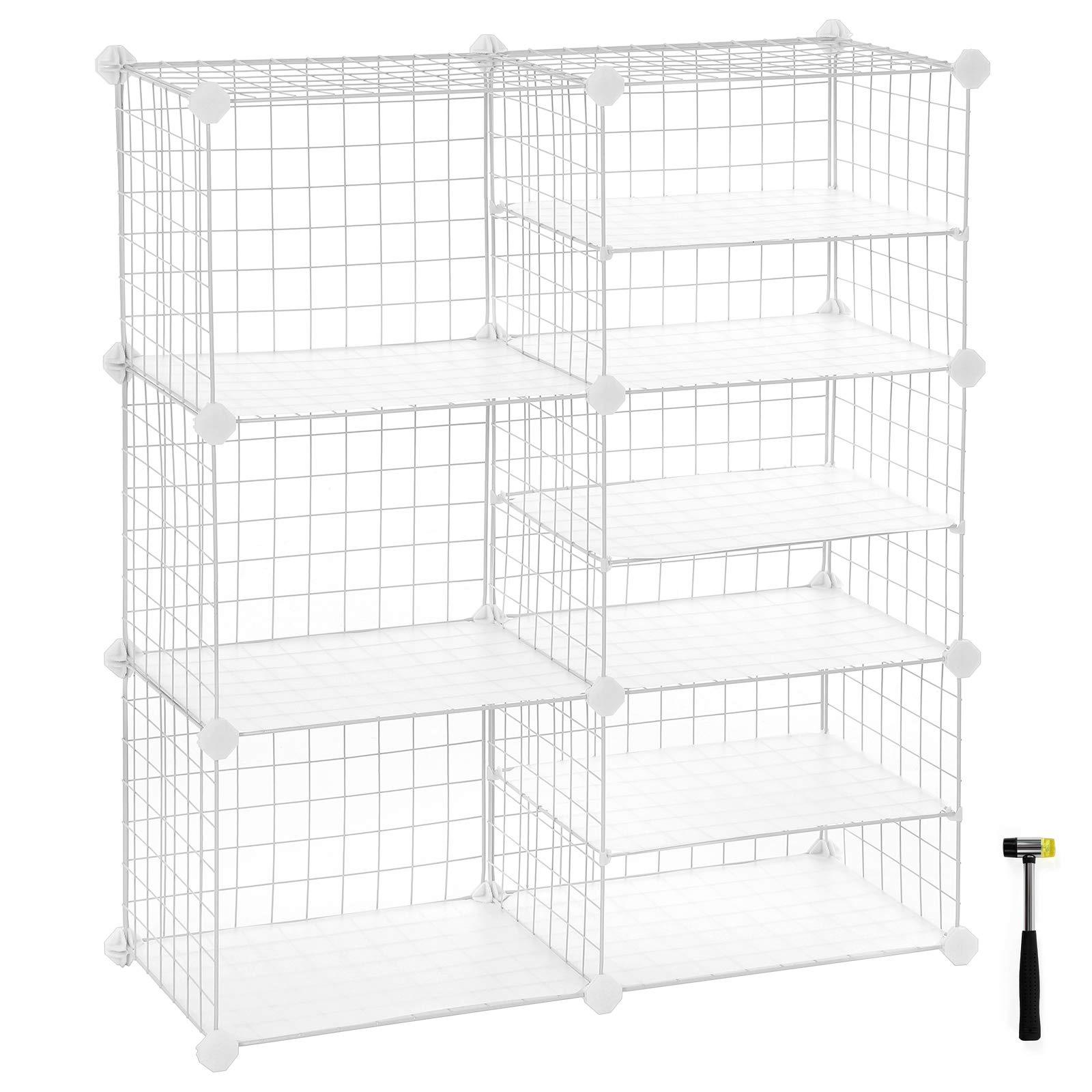 SONGMICS Cube Storage Unit, Interlocking Metal Wire Organizer with Divider Design, Modular Cabinet, Bookcase for Closet Bedroom Kid's Room, 32.7 L x 12.2 W x 36.6 H Inches, White ULPI36W by SONGMICS